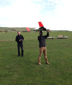 Test flying an unmanned aerial vehicle for a colleague's project.