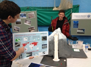Centre for Glaciology members showing off all the stand had to offer.